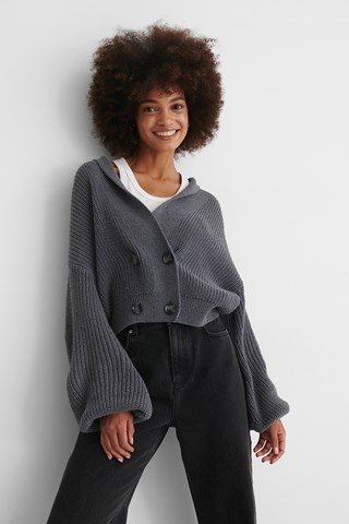 Grey Recycled Front Button Sweater