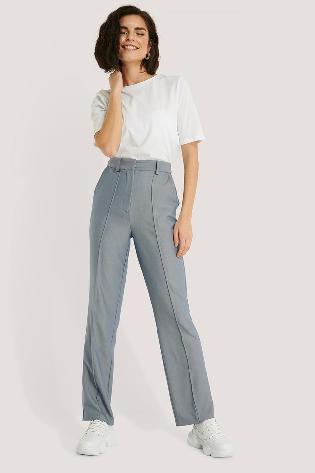 Front Creased Suit Pants Light Blue