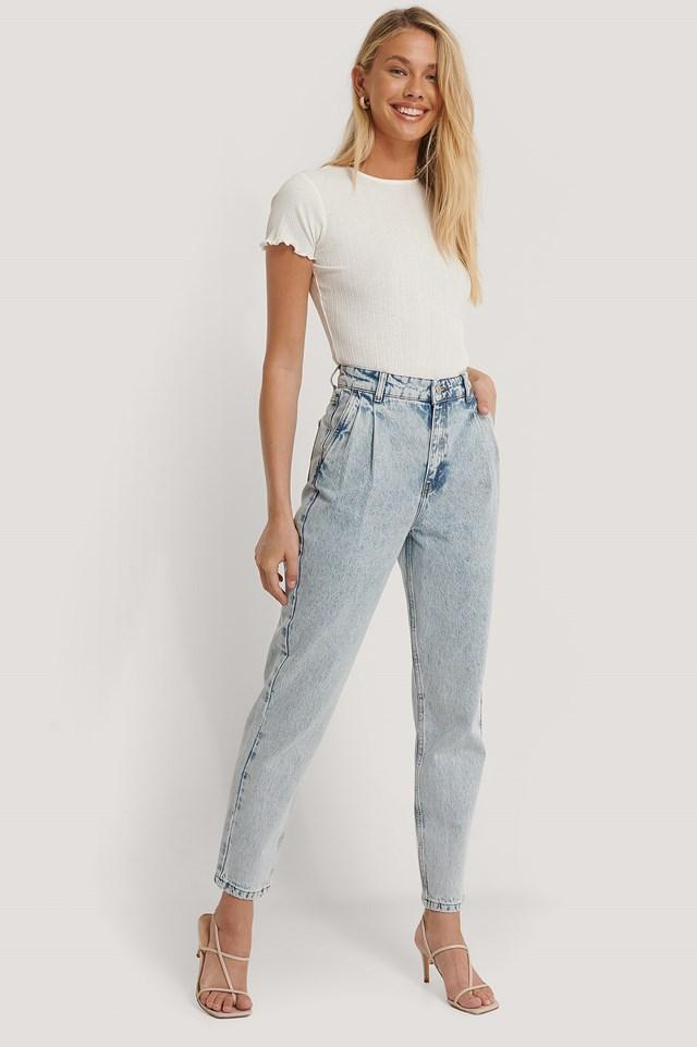Front Dart Mom Jeans Light Blue