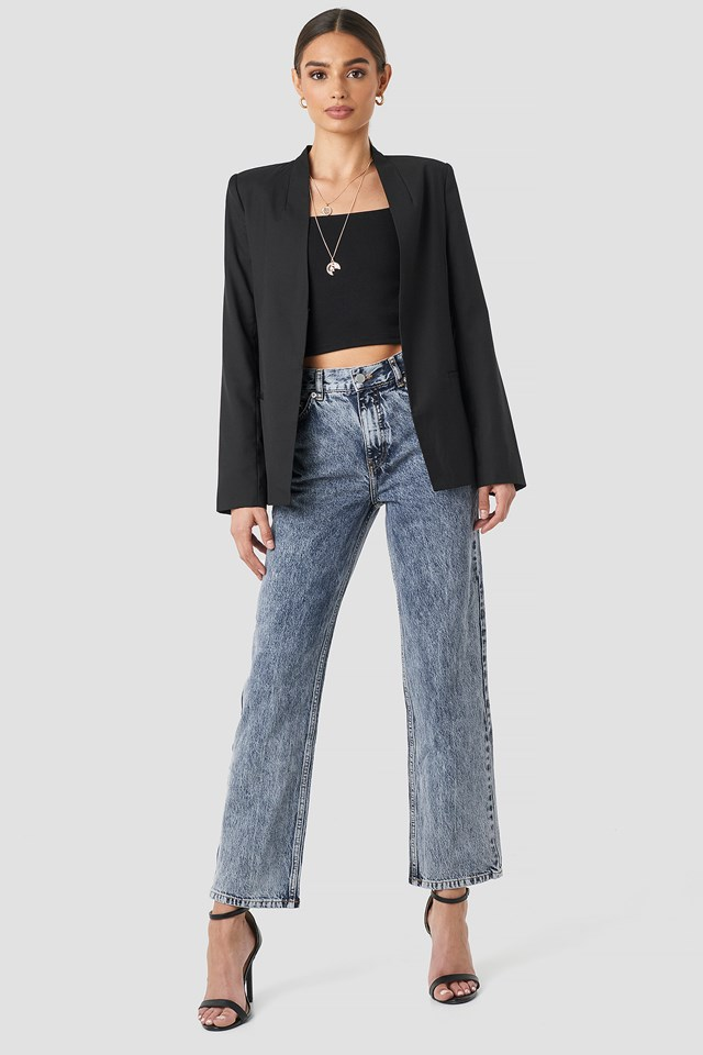 Front Pleat Jeans Blue Stone Wash