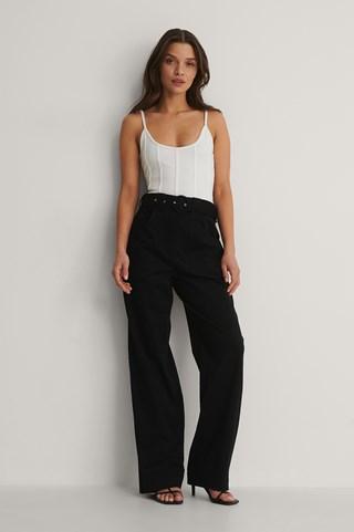 Black Front Pocket Detail Suit Pants
