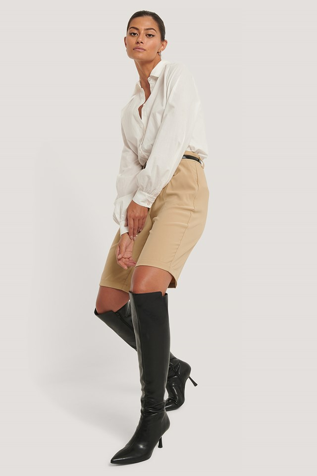 Front Seam Knee High Boots Black