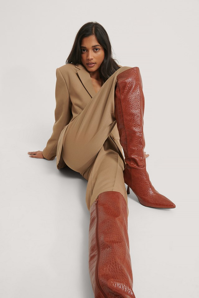 Front Seam Knee High Boots Brown Croco