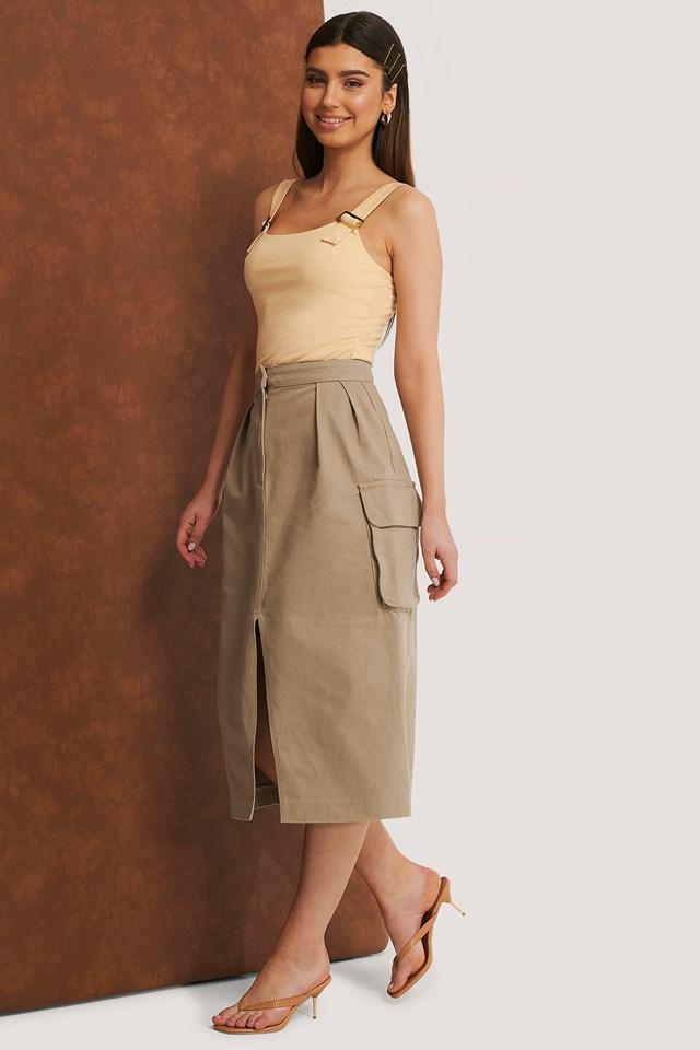 Organic Front Slit Cargo Midi Skirt Beige