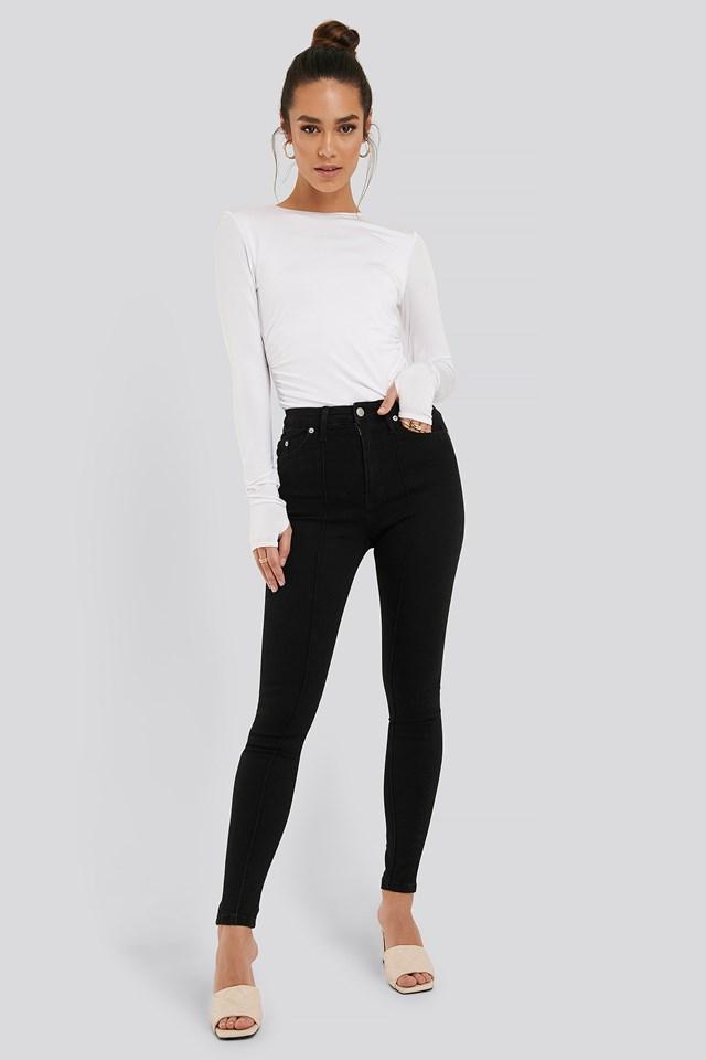 Front Seam Detail Jeans Black