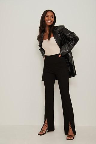 Black Front Slit Jersey Pants