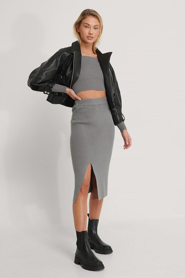 Front Slit Knitted Skirt Grey