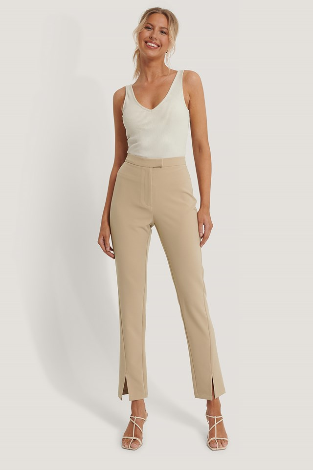 Front Slit Suit Pants Beige