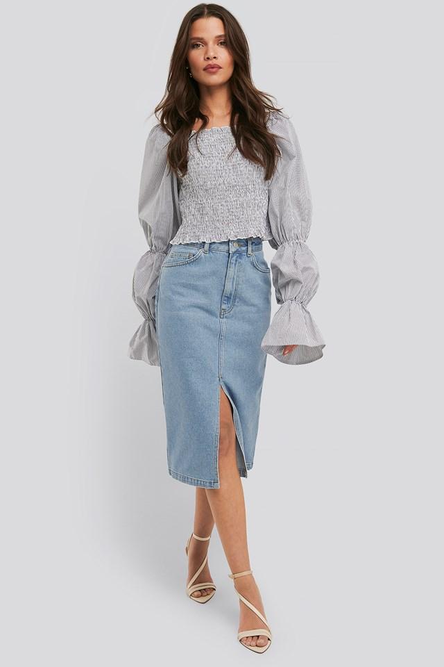 Front Split Midi Denim Skirt NA-KD Trend