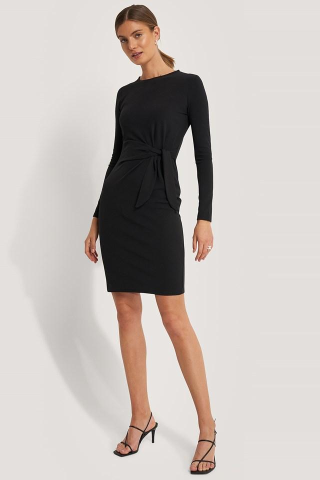 Front Tie Dress Black