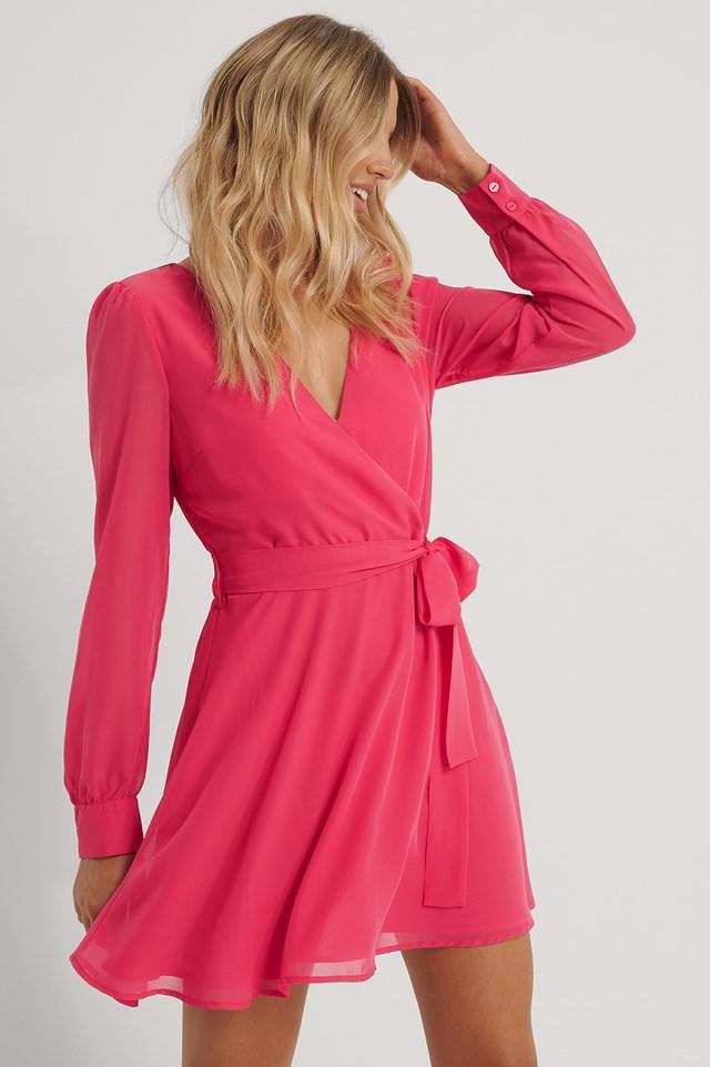 Front Wrap Chiffon Dress Pink