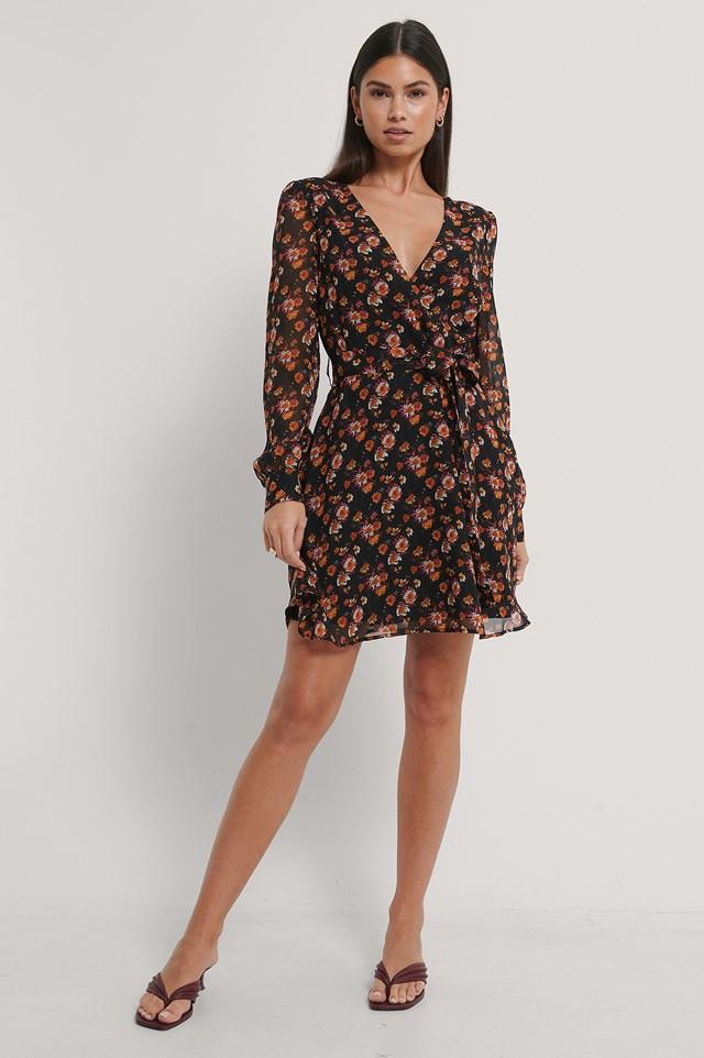 Front Wrap Chiffon Dress Black/Flower Print