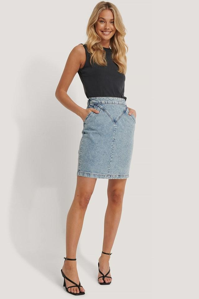 Front Yoke Denim Skirt Light Blue