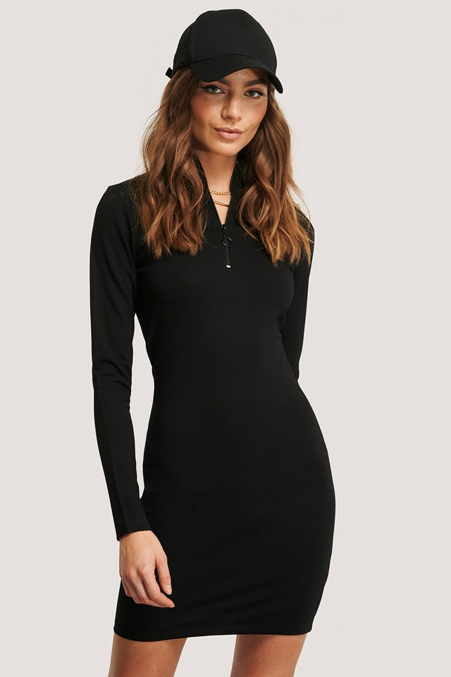 Front Zipper LS Dress Black