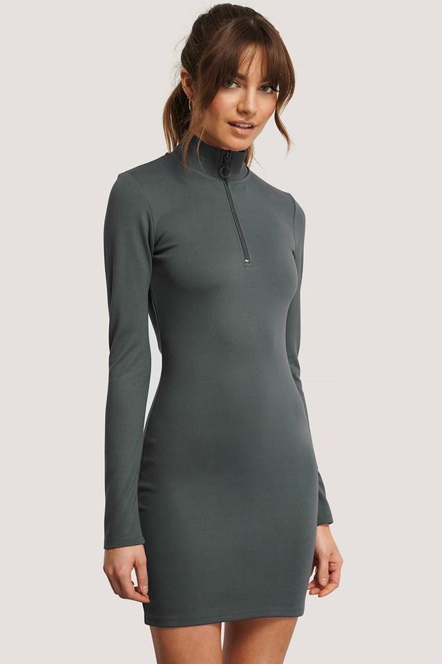 Front Zipper LS Dress Grey