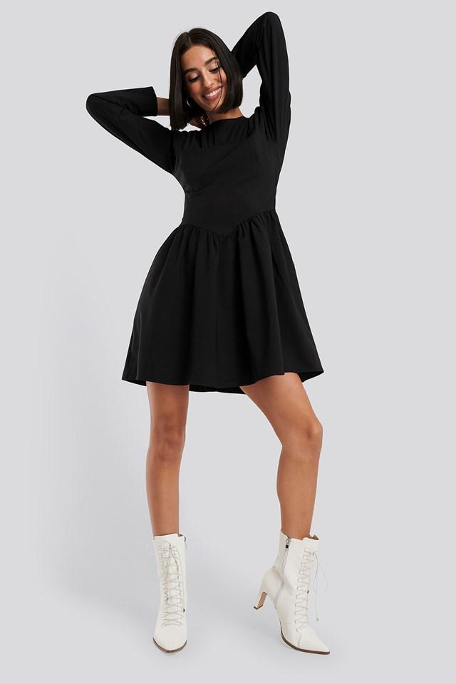 Gathered Neck Mini Dress Black