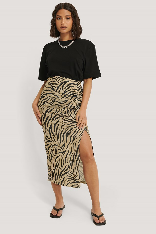 Gathered Side Slit Skirt Zebra