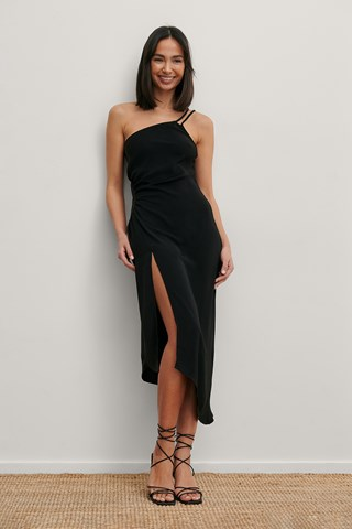 Black Recycled Gathered Waist Midi Dress