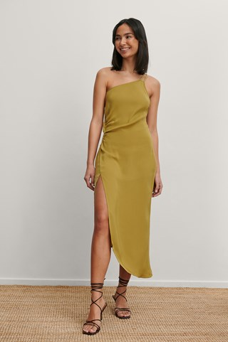 Olive Green Recycled Gathered Waist Midi Dress