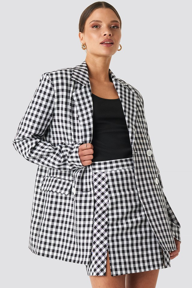Gingham Double Breasted Blazer NA-KD Classic