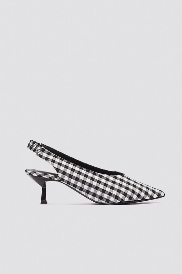 Gingham Kitten Heel Pumps Black/White