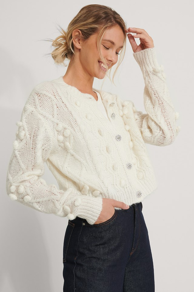 Glitter Button Cable Knit Cardigan Offwhite