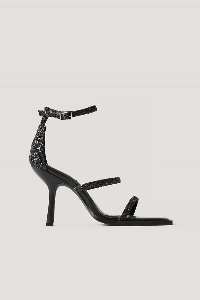 Glitter High Heel Sandals Black