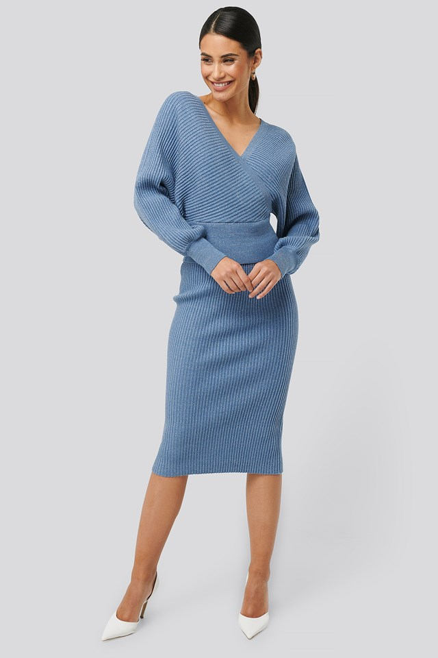 Glittery Ribbed Knitted Skirt Blue