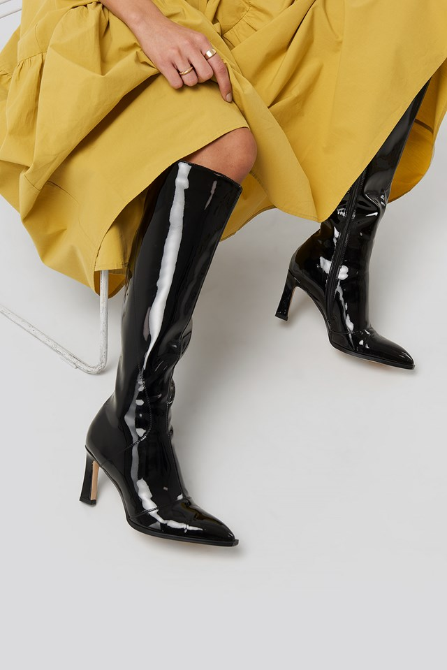 Glossy Patent Shaft Boots NA-KD Shoes