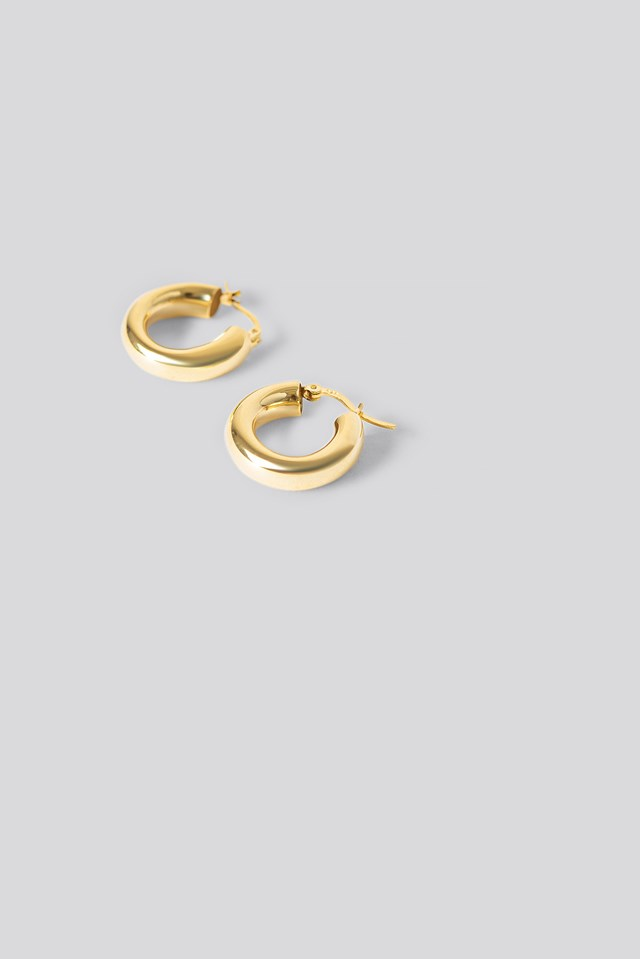 Gold Plated Chunky Earrings NA-KD Accessories
