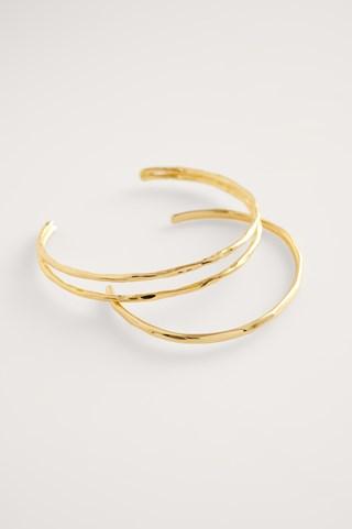 Gold Gold Plated Hammered Bracelet Set