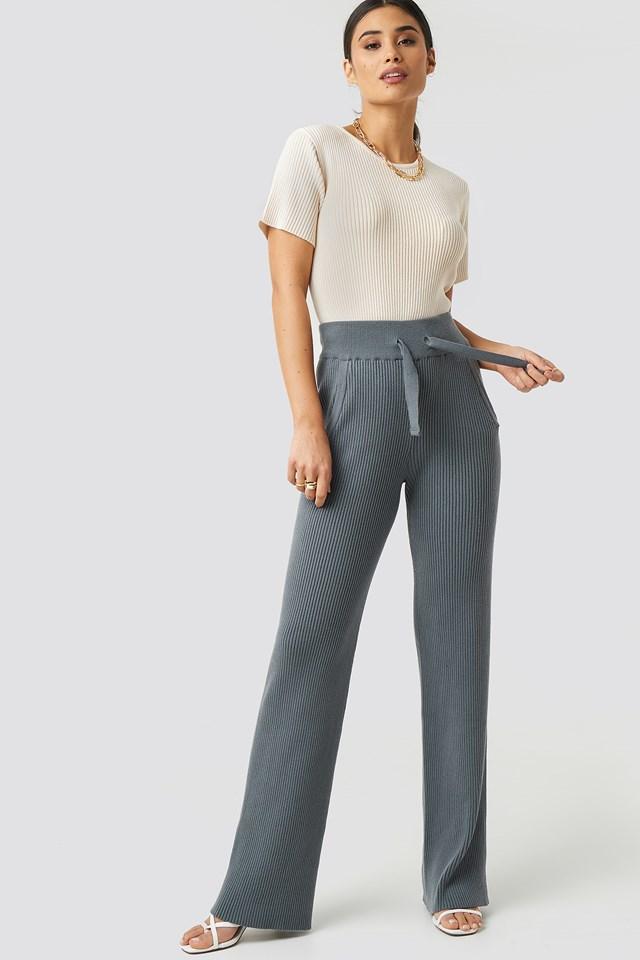 Greg Rib Knitted Pants Grey