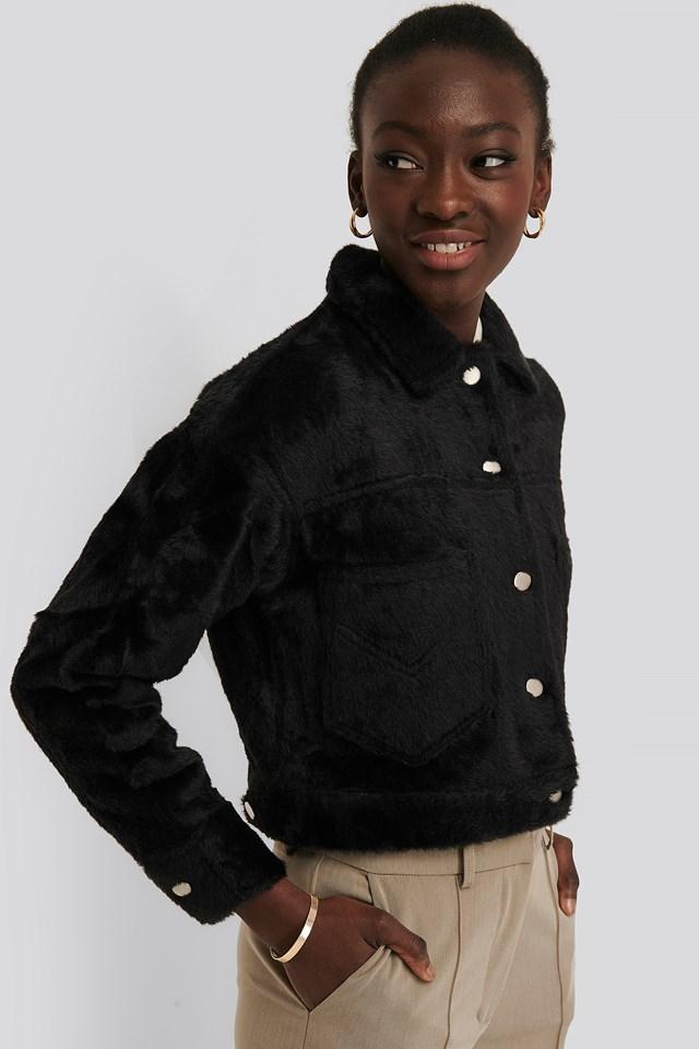 Hairy Faux Fur Jacket Black