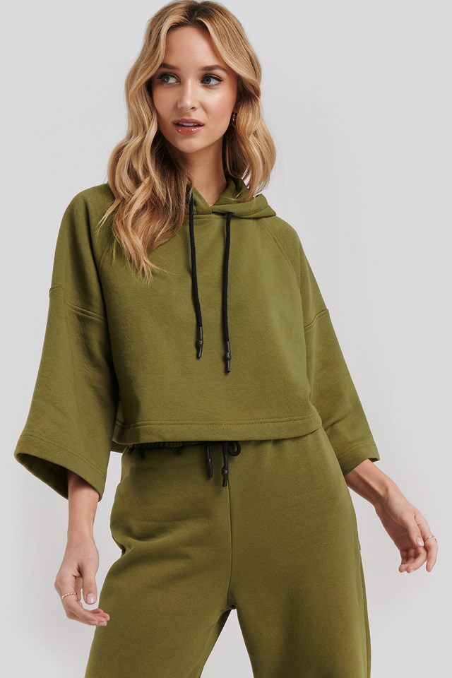 Half Sleeve Cropped Hoodie Green