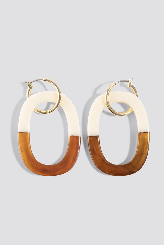 Half Tortoise Hoop Earrings NA-KD Accessories