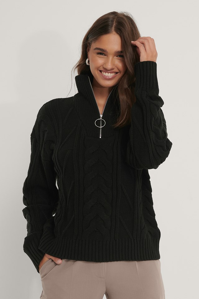 Half Zip Cable Knit Sweater Black