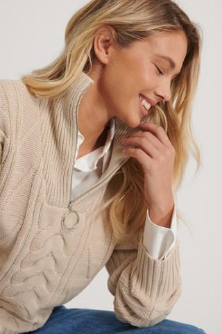 Light Beige Half Zip Cable Knit Sweater