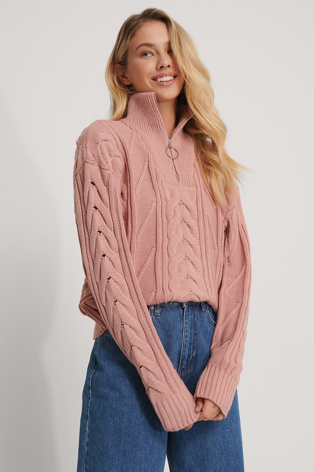 Half Zip Cable Knit Sweater Dusty Pink