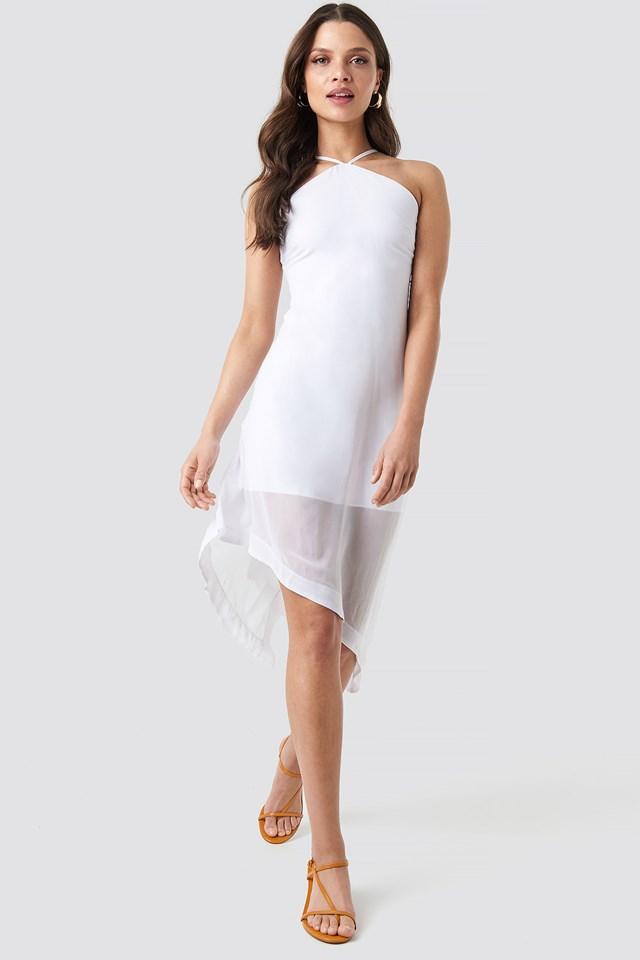 Halter Neck Midi Dress White