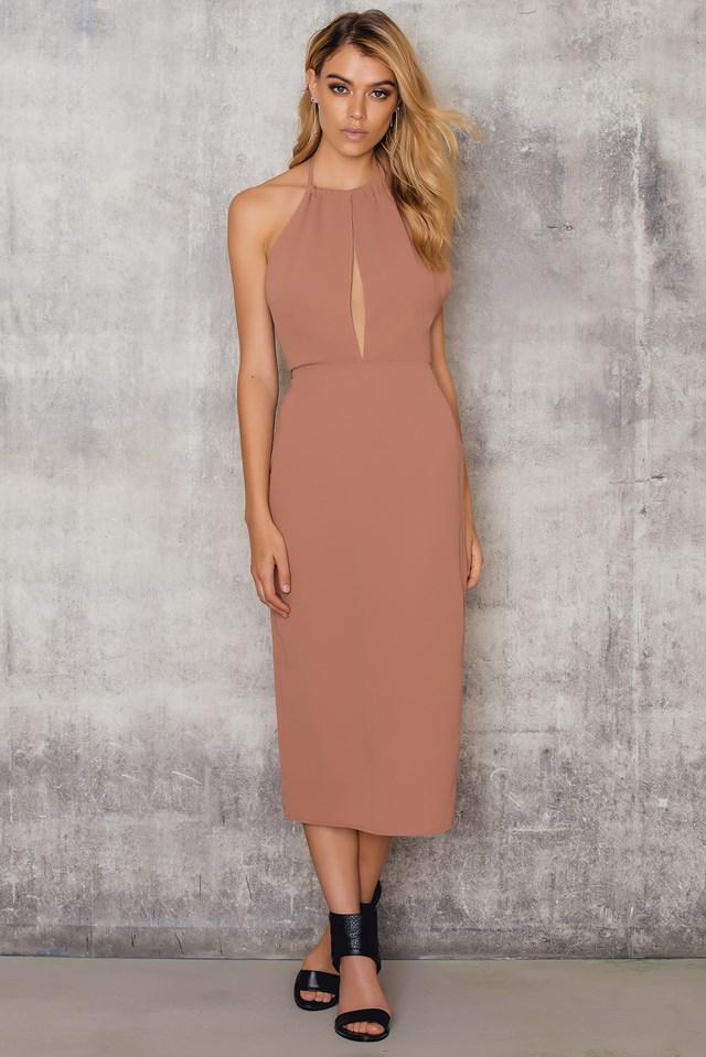 Halterneck Cut Out Knee Dress Dusty Pink