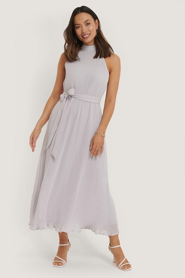 Halterneck Pleated Dress Purple
