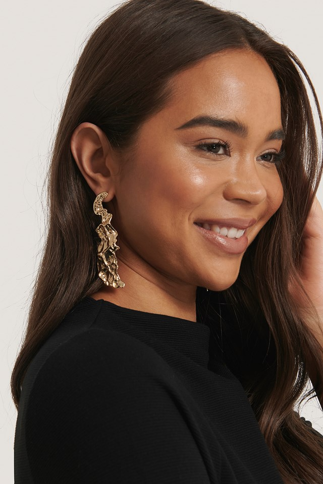 Hammered Drop Earrings Gold