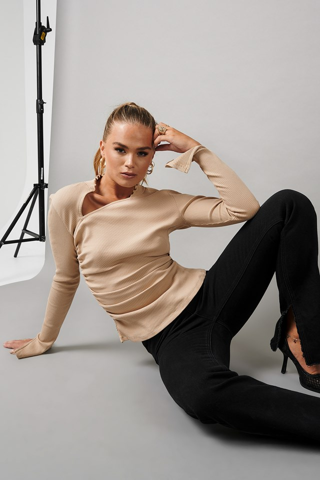 Draped Ribbed Top Beige