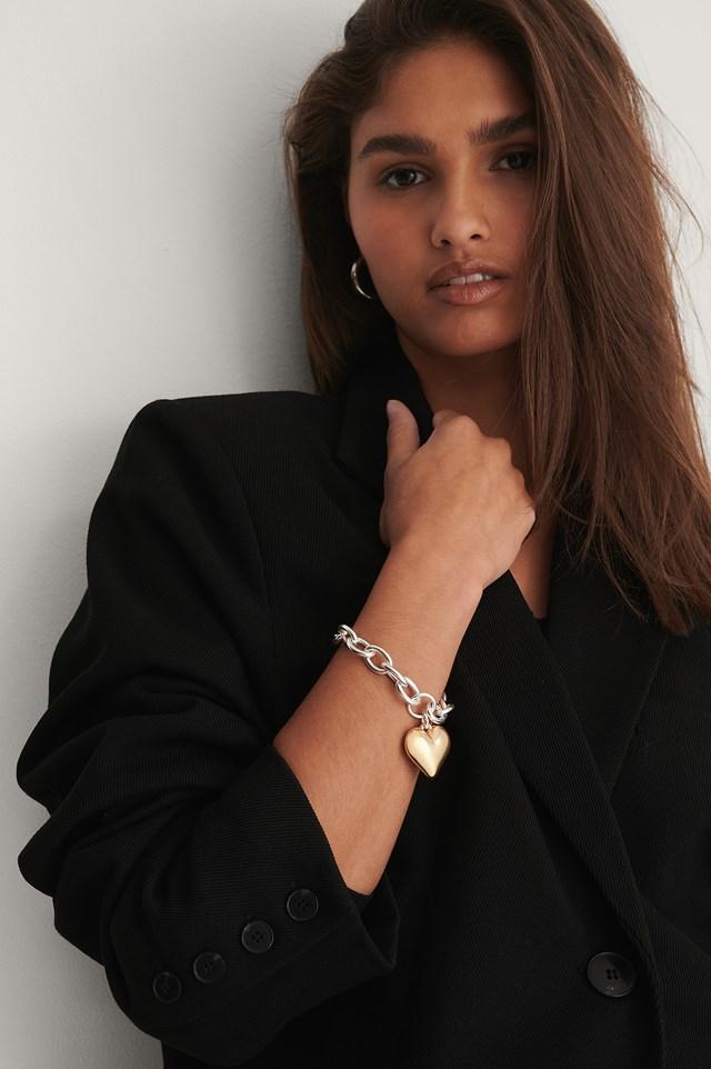 Heart Pendant Bracelet Silver/Gold