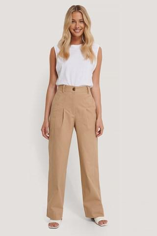 Beige Heavy Cotton-blend Pants