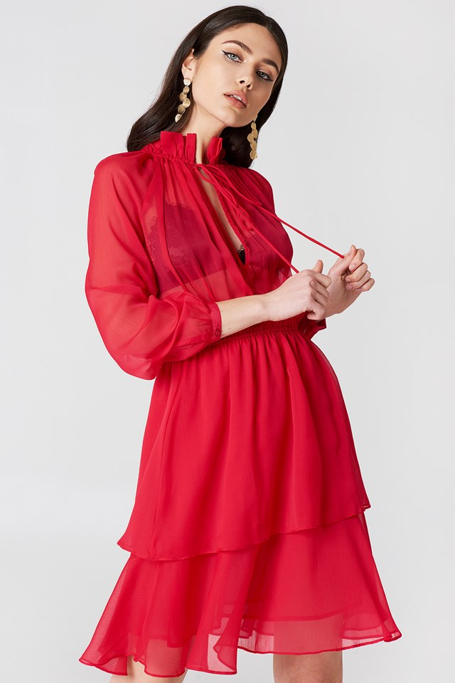 High Frill Neck Dress NA-KD Boho