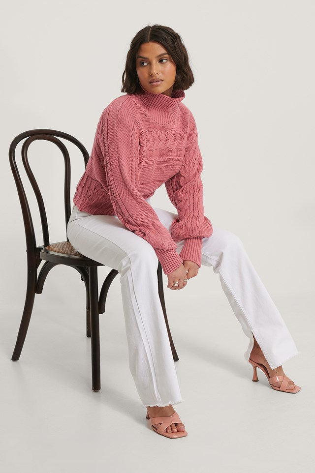 High Neck Cable Detail Knitted Sweater Dark Pink