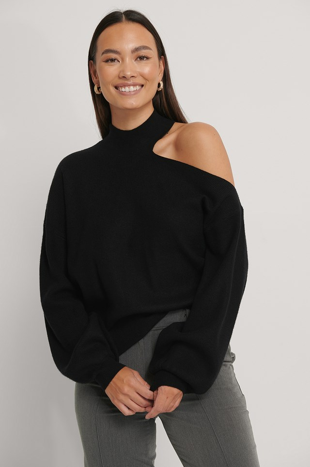 High Neck Cut Out Knitted Sweater Black