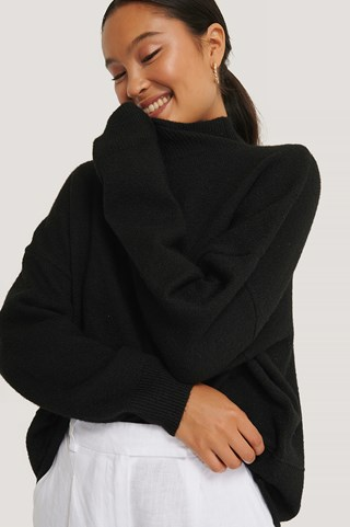 Black High Neck Dropped Shoulder Knitted Sweater