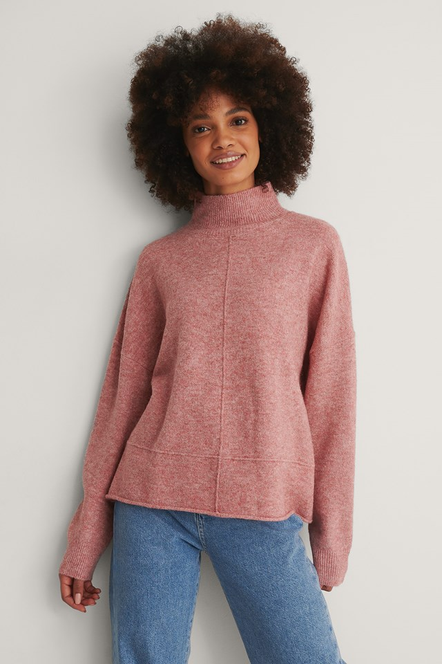Pink High Neck Dropped Shoulder Knitted Sweater